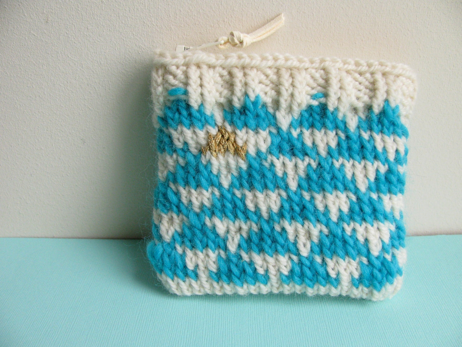 SALE 50% off Knit Coin Purse Zipper Pouch by NFallonDesignStudio