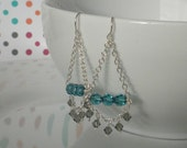 Gray and Blue Crystal Chandelier Earrings