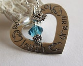 Dreams heart Pendant - handstamped And personalized With your Words