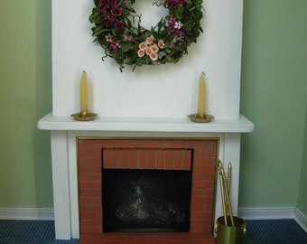 Miniature Fireplace  with Wreath, Candles and Tools - OOAK Handmade 1:12 Dollhouse Scale