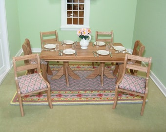 Miniature Dinning Set in Cherry  1:12 Scale Dollhouse Table, Chairs and Rug