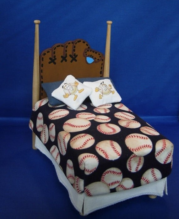 Baseball Bed 1:12 Scale With Bedding and Pillows Dollhouse Miniature