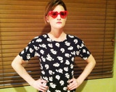 Jessie Spanno Floral Print 80s Top