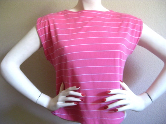 Pink Striped Boat Neck Cotton Candy Top