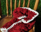 Holiday Chunky Blanket Cable Prop - Knit Newborn Cocoon - Trench Bowl Blanket - Basket Prop Holiday Photo in Cranberry Red with Ivory White