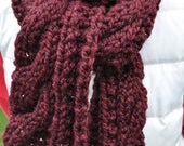 Chunky Red Scarf - Cable Knit Neckwarmer - Long Chunky Cable Scarf in Burgundy Maroon - Merlot Wine - Black Cherry