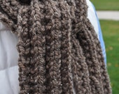 Chunky Brown Scarf - Mens Knit Scarf -  Long Ladies Winter Neckwarmer - Warm Womans Scarf - Cocoa - Taupe - Latte