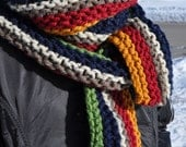 Chunky Striped Scarf - Mens Long Knit Scarf - Womens Multicolor Warm Scarf - Ladies Neckwarmer - Red - Gold - Green - Blue - Brown - Oatmeal