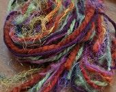 Destash Yarn Bundle For Craft Projects - Harvest Color Palette - Orange Rust - Sage Green - Plum Purple