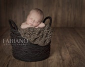 Cable Blanket Prop - Newborn Baby Wrap Cocoon - Chunky Knit in Soft Cocoa Brown