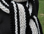 Chunky Scarf - Striped - Black - White - Ladies Knit Scarf - Womens Winter Scarf - Mens Wool Scarf - Long Vertical Stripe Neckwarmer