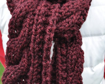 Chunky Cable Red Scarf - Ladies Cable Knit Neckwarmer - Long Womans Chunky Cable Scarf in Burgundy Maroon - Merlot Wine - Black Cherry