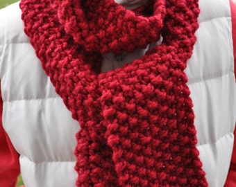 Chunky Red Scarf - Womens Knit Winter Scarf - Mens Warm Scarf - Ladies Extra Long Neckwarmer in Cranberry
