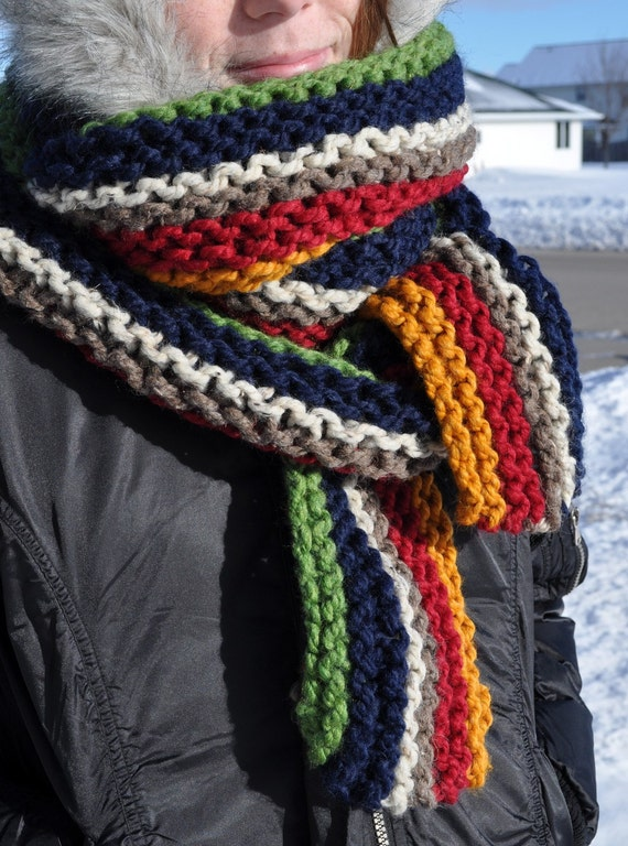 Knitting Vertical Stripes Scarf : Items similar to chunky striped super scarf mens long