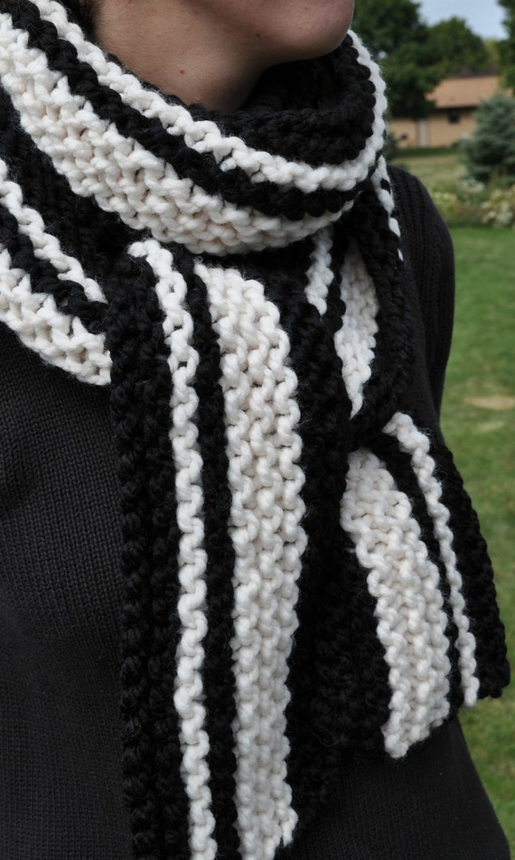 Knit Striped Scarf Pattern : Items similar to Chunky Scarf - Striped - Black - White - Ladies Knit Scarf -...