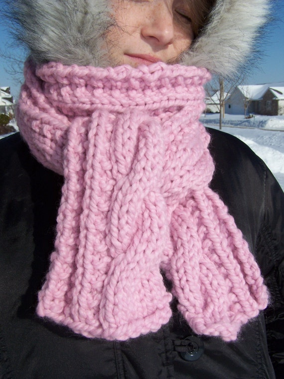 Chunky Pink Cable Scarf - Womens Long Knit Scarf -  Ladies Wool Winter Scarf - Warm Handknit Scarf - Cotton Candy - Bubblegum - Pink