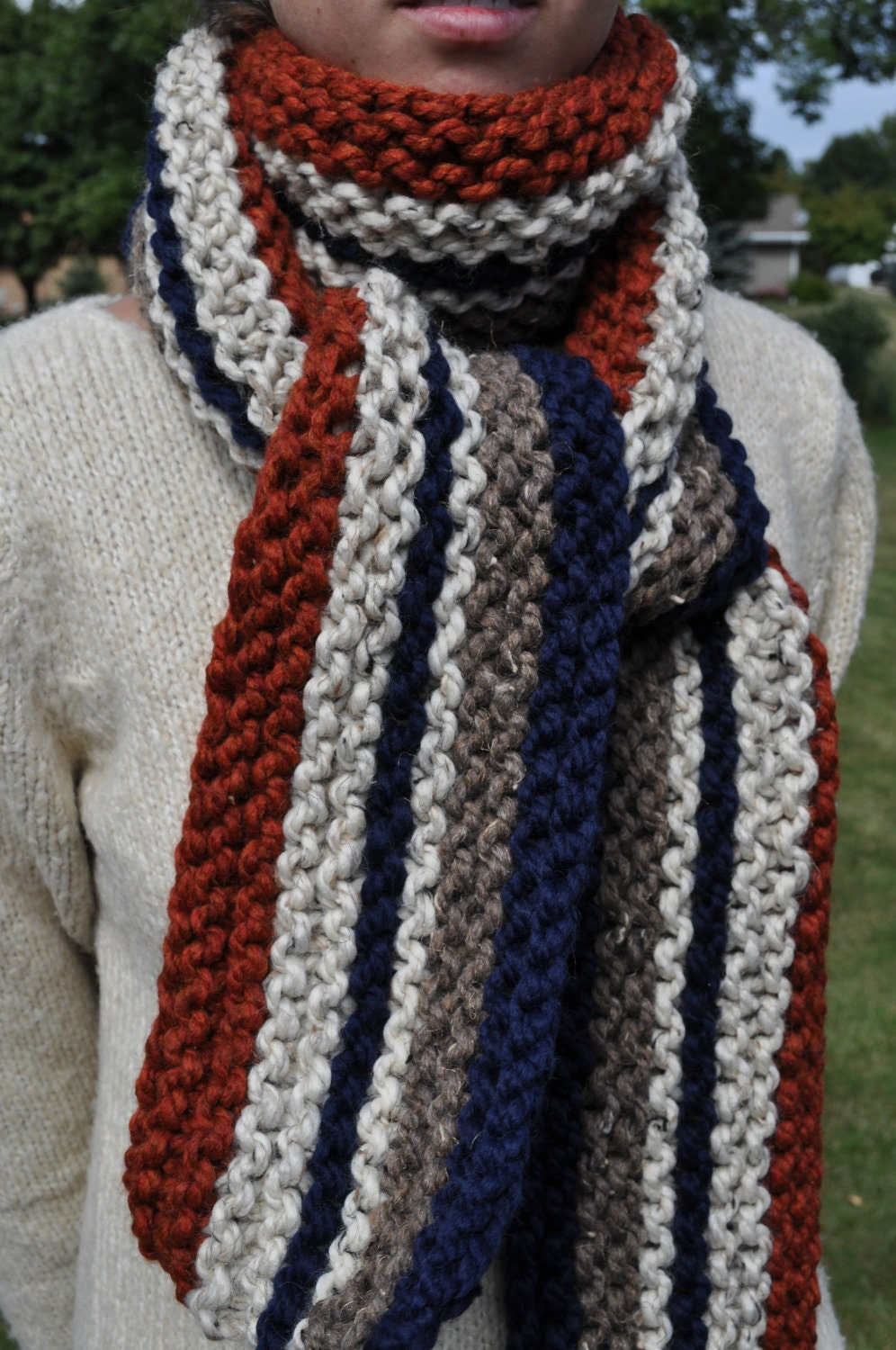 Vertical Striped Scarf Knitting Pattern : Chunky Striped Super Scarf Womens Knit Scarf Mens Scarf