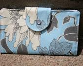 dancing pinstripes gray light blue bifold wallet
