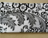 black and white damask oilcloth wallet
