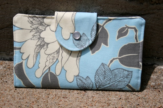 dancing pinstripes gray light blue bifold wallet