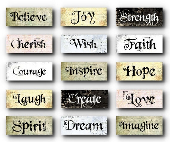 Items Similar To Grungy Inspirational Words Charms Sampler Digital Collage Sheet New On Etsy