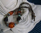 Amber Turquoise Necklace with Smokey Quartz Artisan Necklace