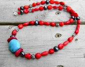 Turquoise Necklace with Coral, Peacock Pearl and Sterling Silver