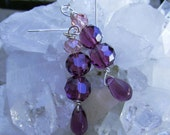 Purple Earrings Grape Amethyst and Pink Morganite Crystal Brio
