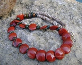 Red Jasper Gemstone Necklace, South West Necklace, Artisan Jewelry, Women's Necklace, Jasper Necklace, South West Jewelry, Red Stone