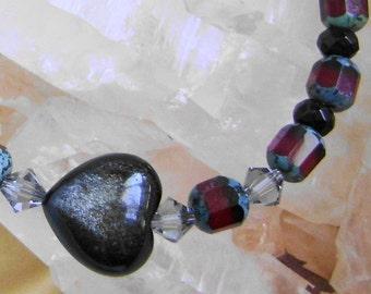 Ruby Red Crystal and Obsidian Heart Love Bracelet, Valentine Gift Jewelry, Gemstone Bracelet, Ruby Crystal Bracelet, Obsidian Jewelry