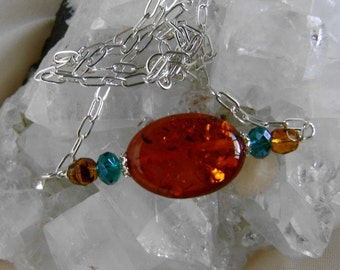 Amber Bar Pendant Necklace, Amber and Crystal Jewelry, Amber and Sterling Silver Necklace, Women's Gemstone Jewelry, Gemstone Pendant