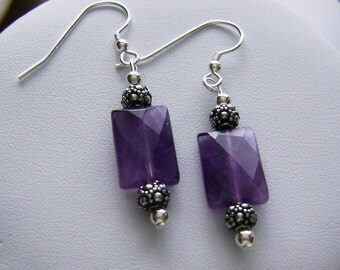 Amethyst and Sterling Silver Earrings, Faceted Amethyst, Purple Gemstone Earring, February Birthstone, Purple Amethyst Jewelry, Women's Gift