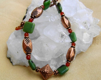 Copper Gemstone Artisan Bracelet, Copper Bracelet, Chrysoprase Jewelry,  Red Agate Bracelet, Copper Jewelry, Gemstone Jewelry, Gift for Her