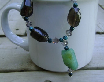 Smoky Quartz  Peruvian Opal and Malachite Artisan Necklace, Quartz and Opal Necklace, Smoky Quartz Necklace, Gemstone Necklace, Rustic Opal