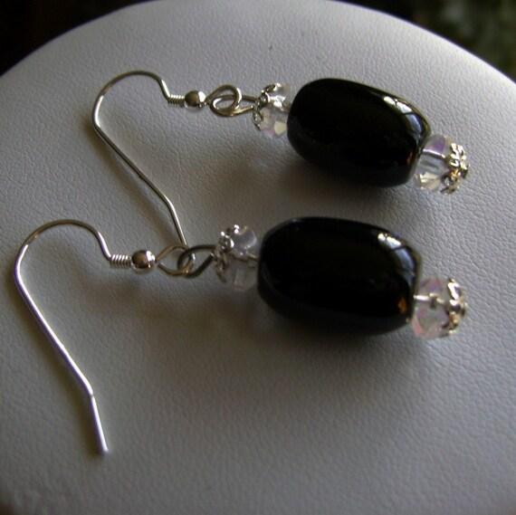 Black Onyx and Crystal Gemstone Earrings