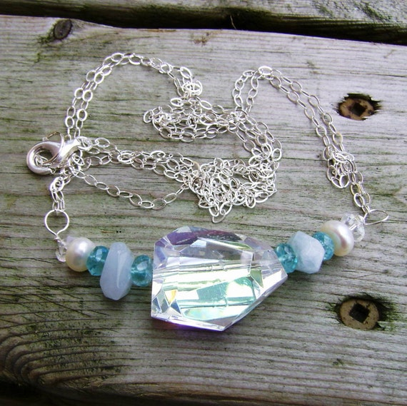 Apatite Aquamarine Necklace, Rock Crystal Necklace, Pearl and Gemstone Sterling Silver Necklace, Statement Necklace, Birthstone Jewelry