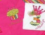 Girls Birthday shirt with matching apron set perfect birthday girl gift