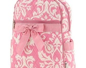 Girls small personalized quilted backpack with name or great flower girl gift Quilted Damask Print Backpack (12x15x5.5)