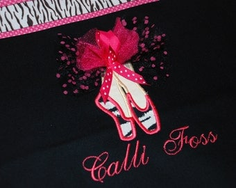 Girls personalized dance bag ballet bag with applique dance shoes zebra and pink