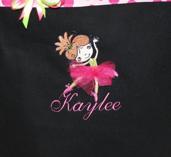 Girls personalized dance tote bag ballet bag canvas tote with with name and tutu