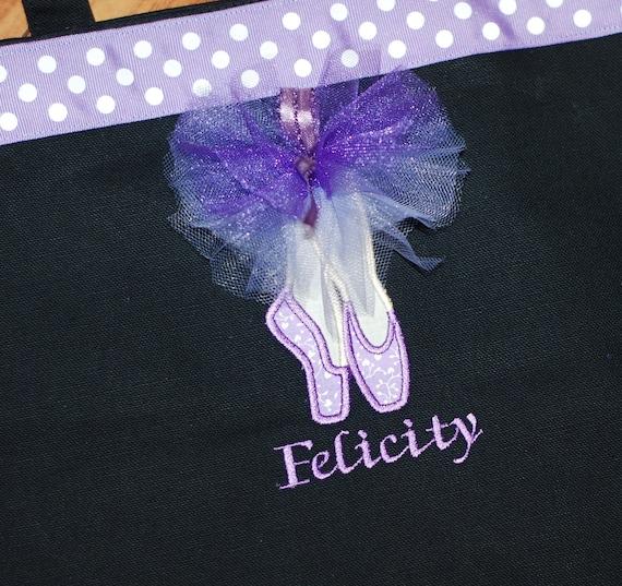 Girls personalized dance bag ballet bag wth applique dance shoes in purples