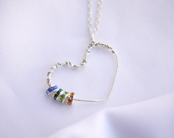 Handmade Heart Pendant Necklace- Birthstone Swarovski Crystals by I Heart This