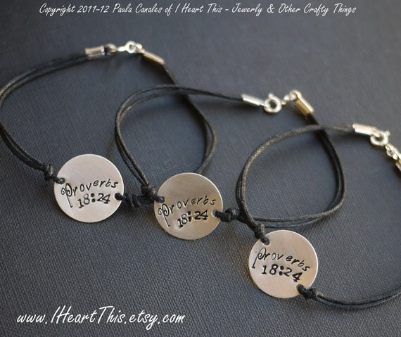 FOUR Sterling Silver Handstamped Charm Bracelets with Cotton Cord by I Heart This GRADUATION gifts