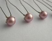Soft Pink Pearl Hair Pins 8mm Swarovski Pearls set of 6 Powder ROSE OlyTeam