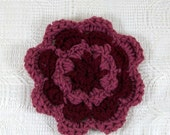 Crochet Flower in Claret and Mauve