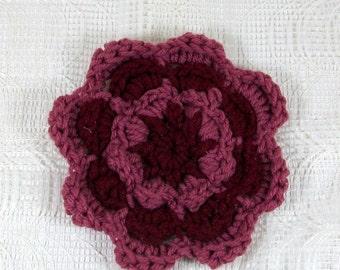 Maroon Flower / Burgundy Flower / Crochet Flower / Flower Brooch / Mauve Flower / Flower Embellishment / Crochet Accessory