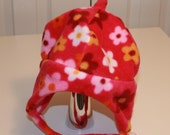 Baby/Toddler/Child's Fleece Earflap Hat in bright fuchsia floral pattern with chin-strap - Choose size infant to size 5/6