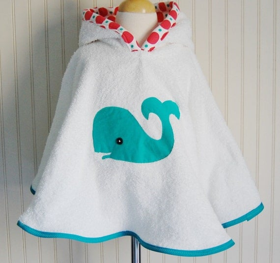 LITTLE WHALE BEACH/POOL TERRY CLOTH COVER UP WITH HOOD 12mos-2T, 3/4T, 5/6