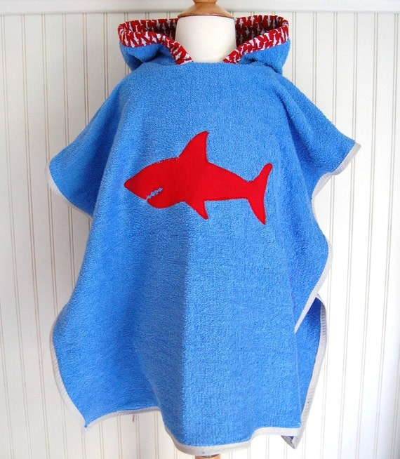 Hooded Towel Shark Swimsuit Cover Up with in Blue Terry - 12mos-2T, 3 / 4T, 5 / 6 by The Trendy Tot
