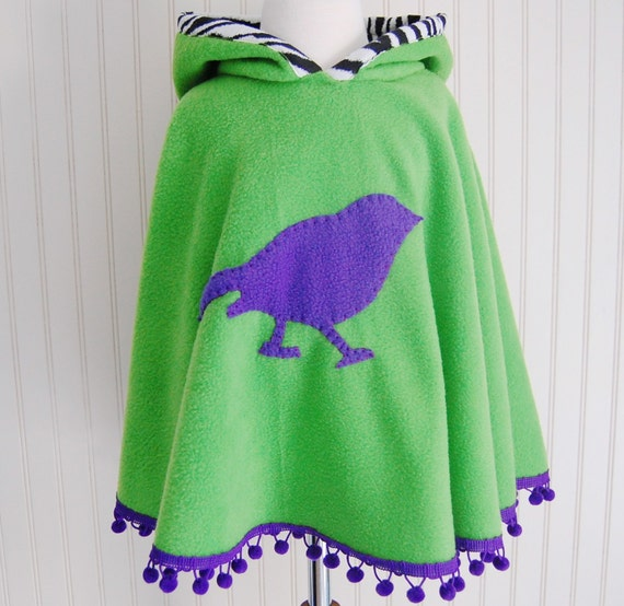 SALE - GROW WITH ME PURPLE BIRD PONCHO WITH HOOD Size 2/3T only ready-to-ship